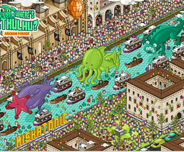 Where's Cthulhu retro pixel art poster