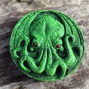 cthulhu medallion magnet intense green