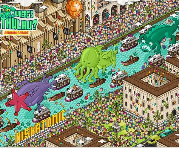 Where's Cthulhu retro pixel art poster